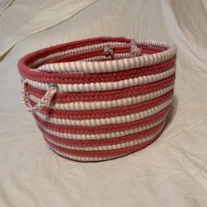 cloth rope flimsy basket in pink & white stripe